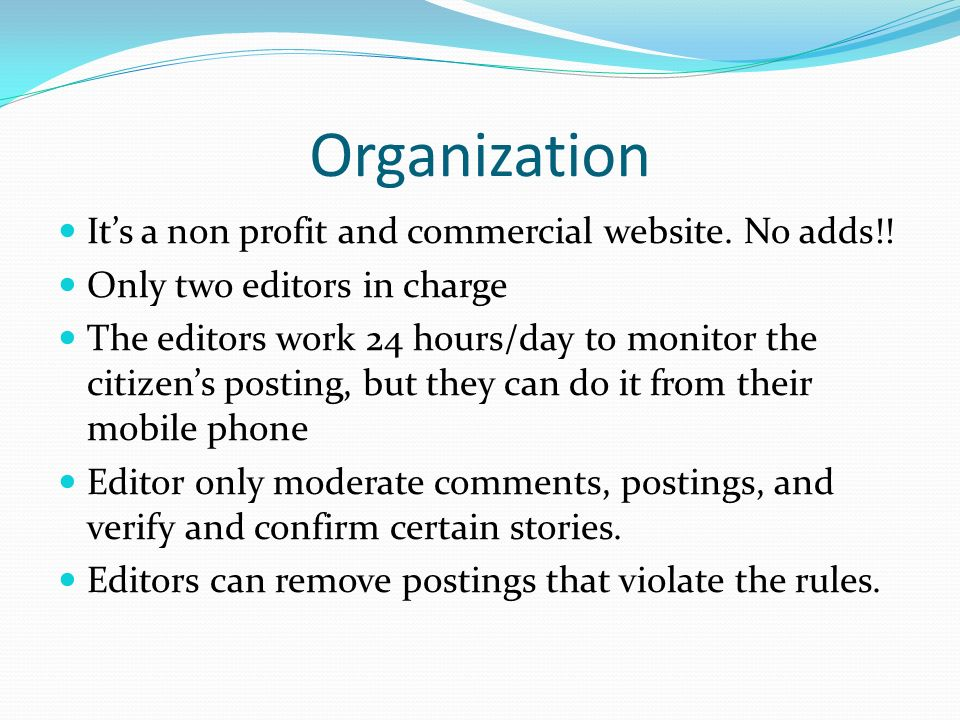 Organization Its a non profit and commercial website.