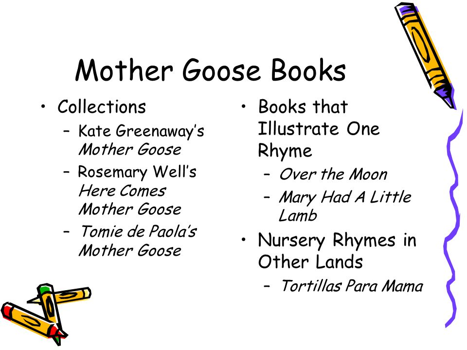 Mother Goose Books Collections –Kate Greenaways Mother Goose –Rosemary Wells Here Comes Mother Goose –Tomie de Paolas Mother Goose Books that Illustra