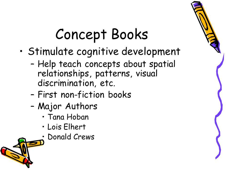 Concept Books Stimulate cognitive development –Help teach concepts about spatial relationships, patterns, visual discrimination, etc. –First non-ficti