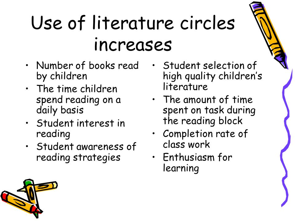Use of literature circles increases Number of books read by children The time children spend reading on a daily basis Student interest in reading Stud