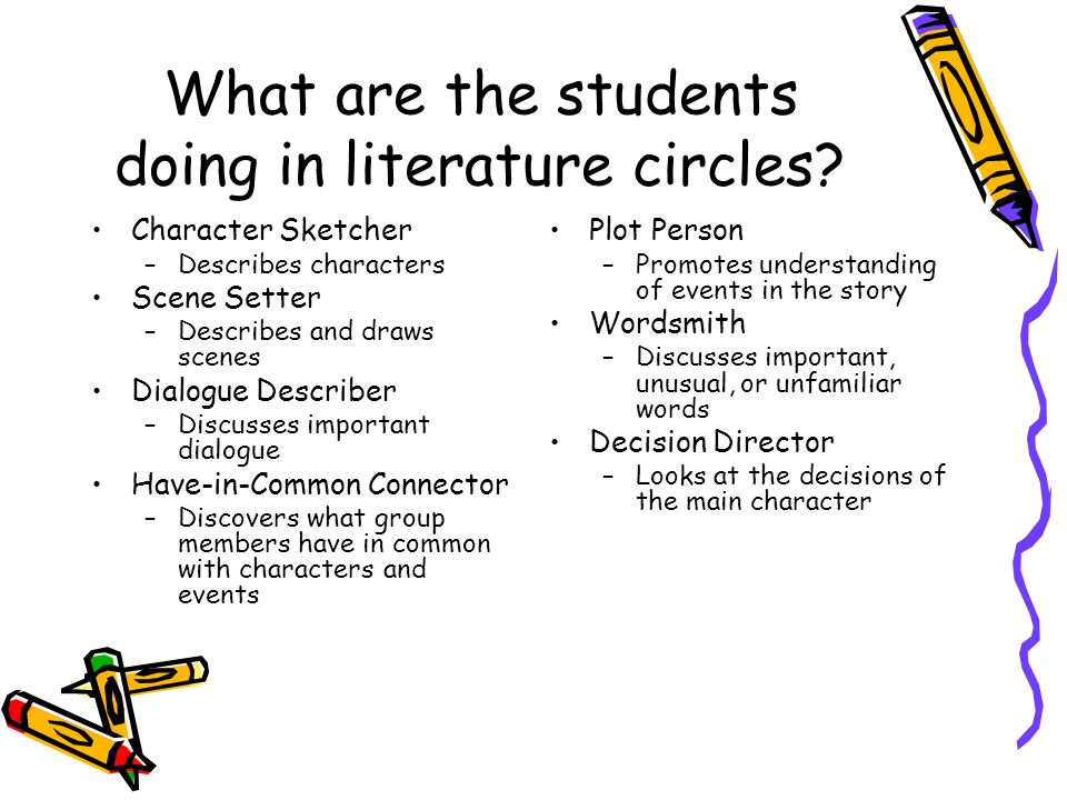What are the students doing in literature circles? Character Sketcher –Describes characters Scene Setter –Describes and draws scenes Dialogue Describe