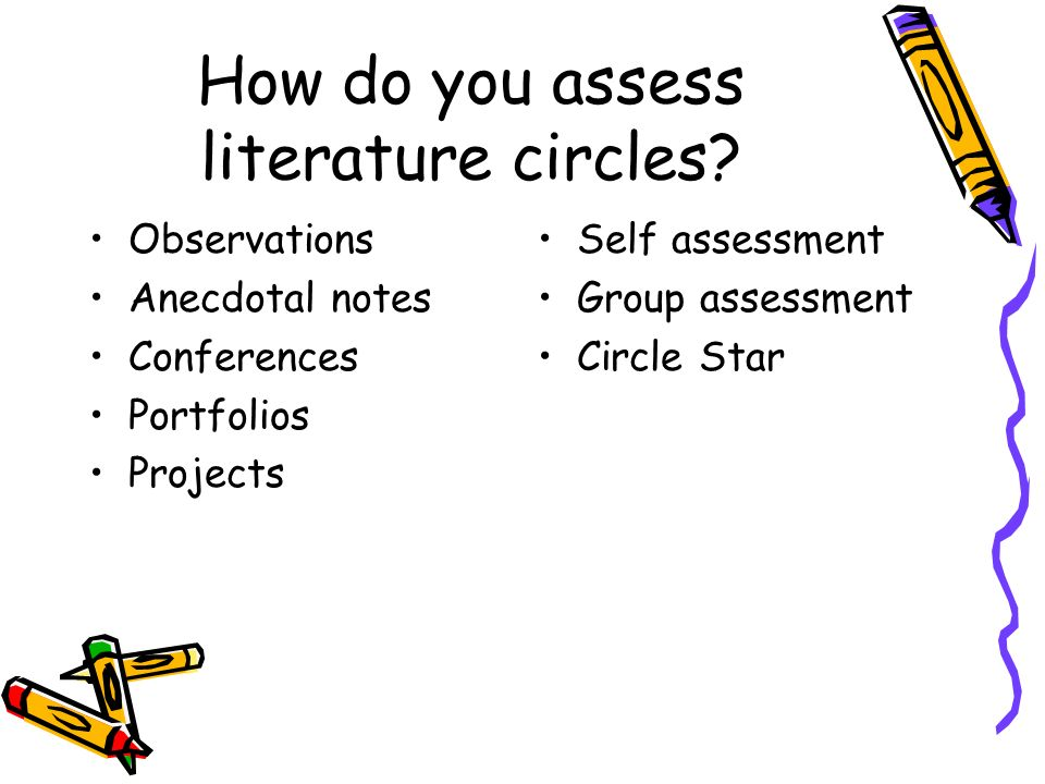 How do you assess literature circles? Observations Anecdotal notes Conferences Portfolios Projects Self assessment Group assessment Circle Star