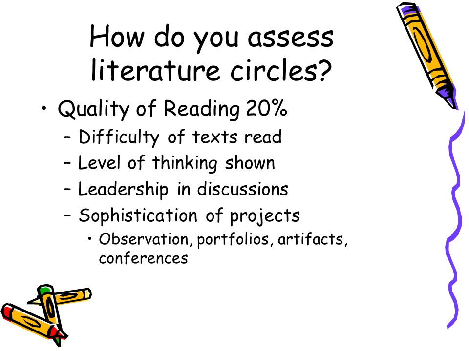 How do you assess literature circles? Quality of Reading 20% –Difficulty of texts read –Level of thinking shown –Leadership in discussions –Sophistica