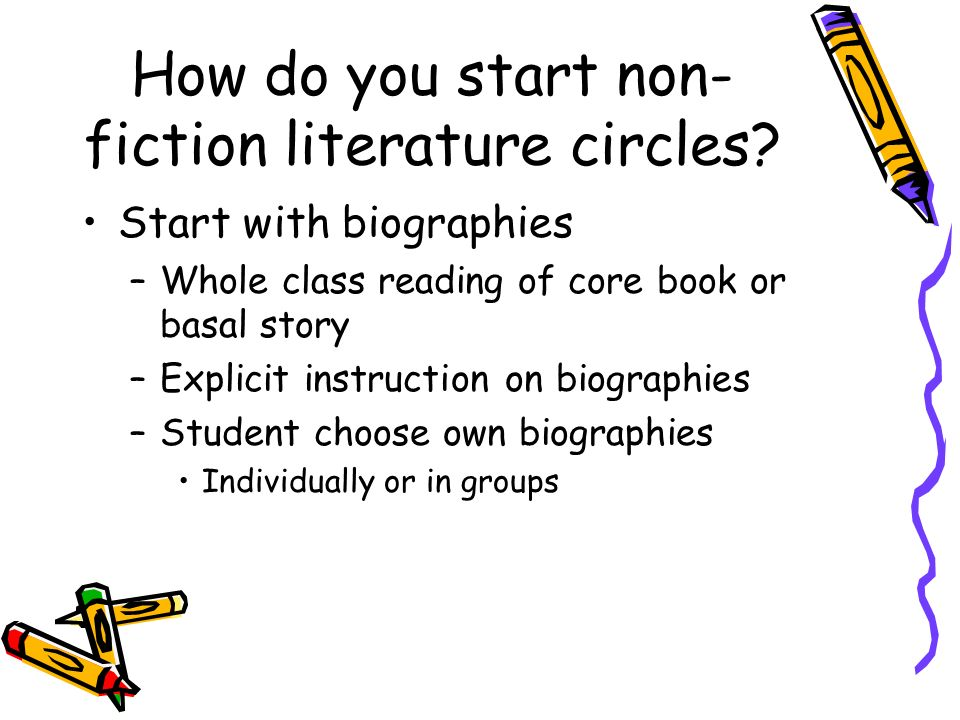 How do you start non- fiction literature circles? Start with biographies –Whole class reading of core book or basal story –Explicit instruction on bio