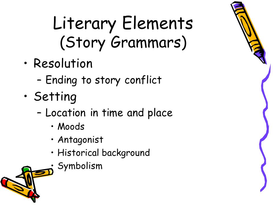 Literary Elements (Story Grammars) Resolution –Ending to story conflict Setting –Location in time and place Moods Antagonist Historical background Sym