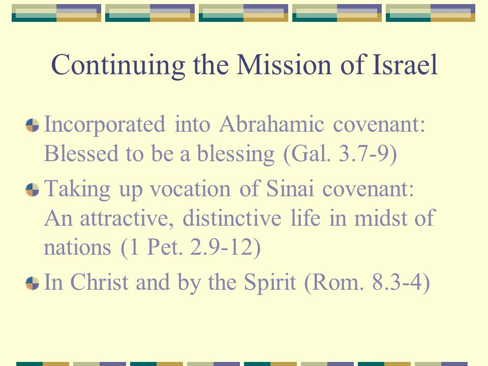 Continuing the Mission of Israel Incorporated into Abrahamic covenant: Blessed to be a blessing (Gal. 3.7-9) Taking up vocation of Sinai covenant: An