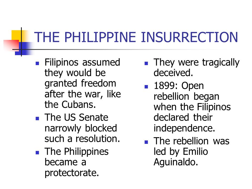 Filipinos assumed they would be granted freedom after the war, like the Cubans. The US Senate narrowly blocked such a resolution. The Philippines beca