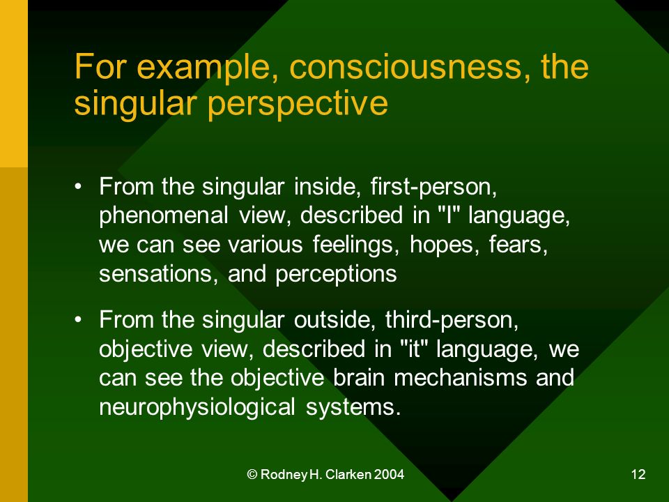 © Rodney H. Clarken 2004 12 For example, consciousness, the singular perspective From the singular inside, first-person, phenomenal view, described in
