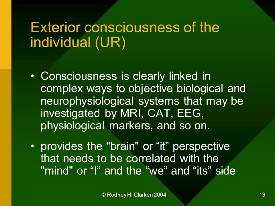 © Rodney H. Clarken 2004 19 Exterior consciousness of the individual (UR) Consciousness is clearly linked in complex ways to objective biological and