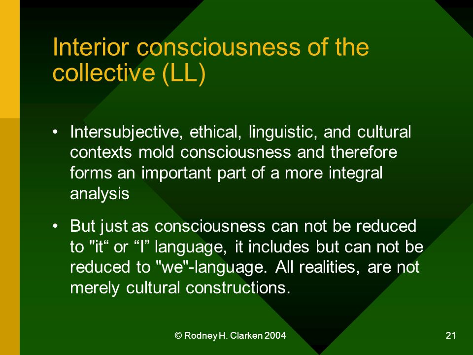 © Rodney H. Clarken 2004 21 Interior consciousness of the collective (LL) Intersubjective, ethical, linguistic, and cultural contexts mold consciousne