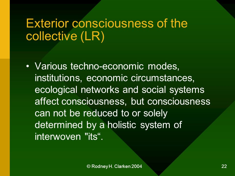 © Rodney H. Clarken 2004 22 Exterior consciousness of the collective (LR) Various techno-economic modes, institutions, economic circumstances, ecologi