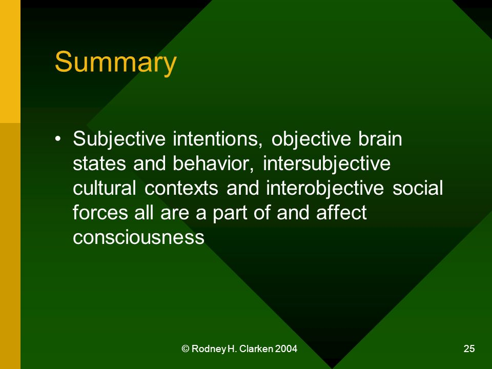 © Rodney H. Clarken 2004 25 Summary Subjective intentions, objective brain states and behavior, intersubjective cultural contexts and interobjective s