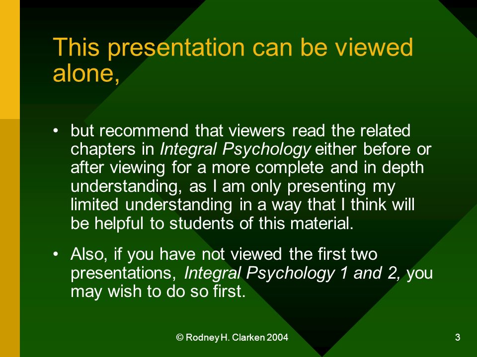 © Rodney H. Clarken 2004 3 This presentation can be viewed alone, but recommend that viewers read the related chapters in Integral Psychology either b
