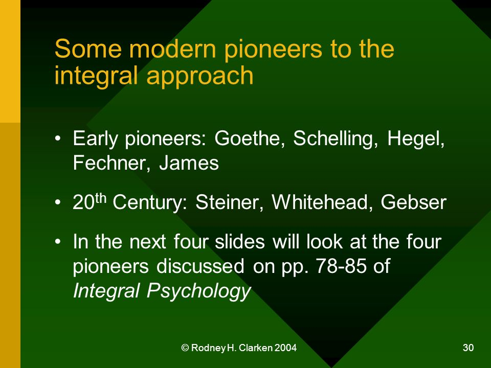 © Rodney H. Clarken 2004 30 Some modern pioneers to the integral approach Early pioneers: Goethe, Schelling, Hegel, Fechner, James 20 th Century: Stei