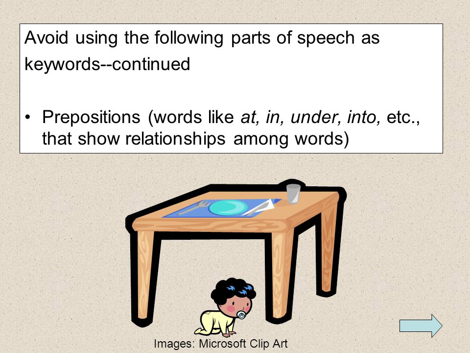 Avoid using the following parts of speech as keywords--continued Adverbs (words like slowly, very, easy, and about that tell how and to what extent so