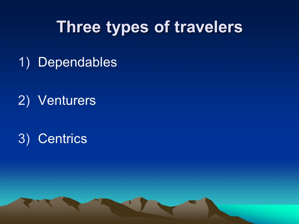 Three types of travelers 1)Dependables 2)Venturers 3)Centrics