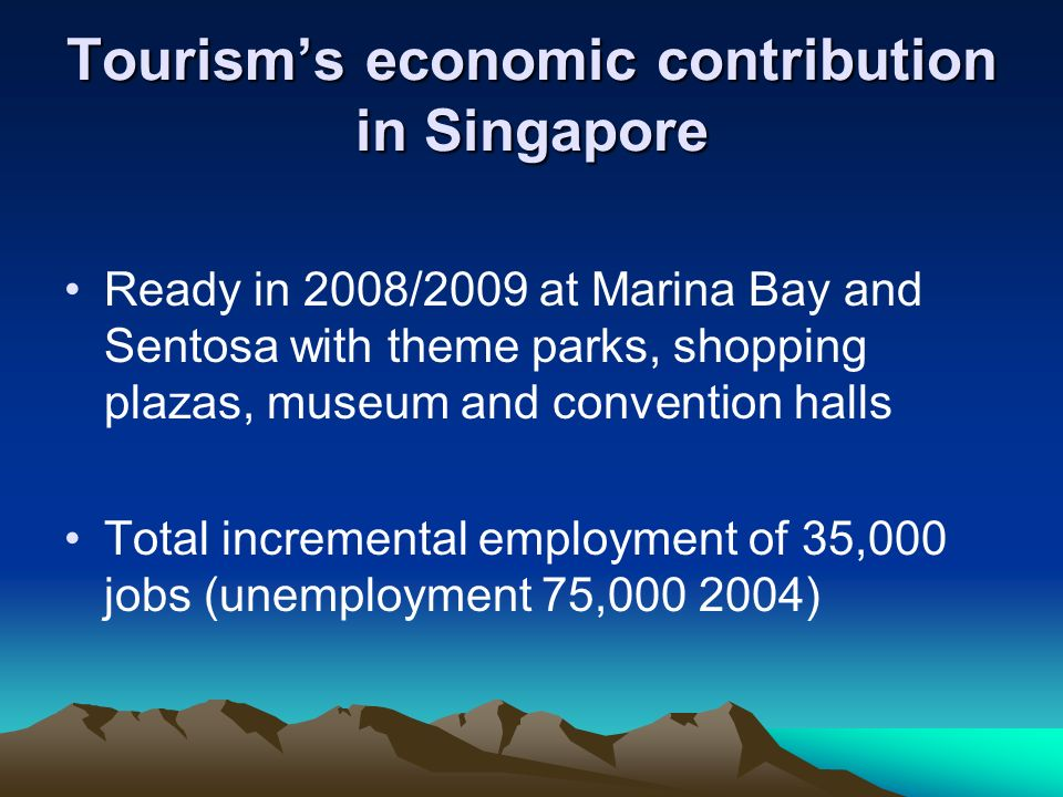 Tourisms economic contribution in Singapore Total incremental GDP of S$1.3 Billion Tourism contribution from 13.1% 1993 to 6.1% 2002 S$5B resort investment e.g.