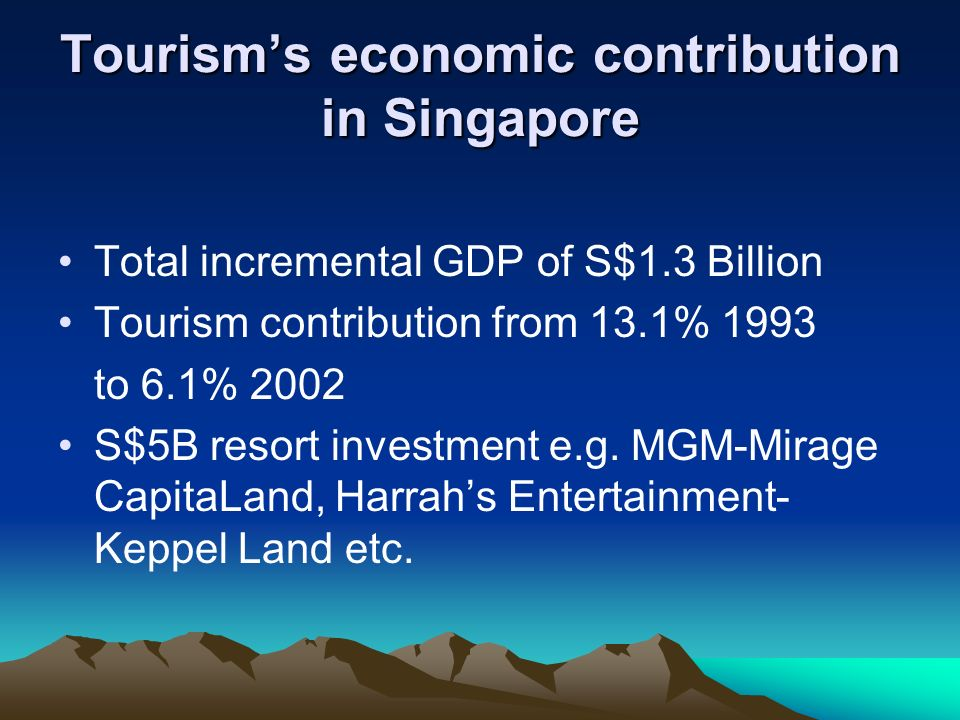 Tourisms economic contribution in Singapore Expected to generate USD26.9billion of economic activity (Total Demand) in 2005 10.6% of GDP and 182,985jobs (8.3% of total employment) in 2005 Expected to grow 7.0% in 2005 and by 6.2% per annum, in real terms, between 2006 and 2015.