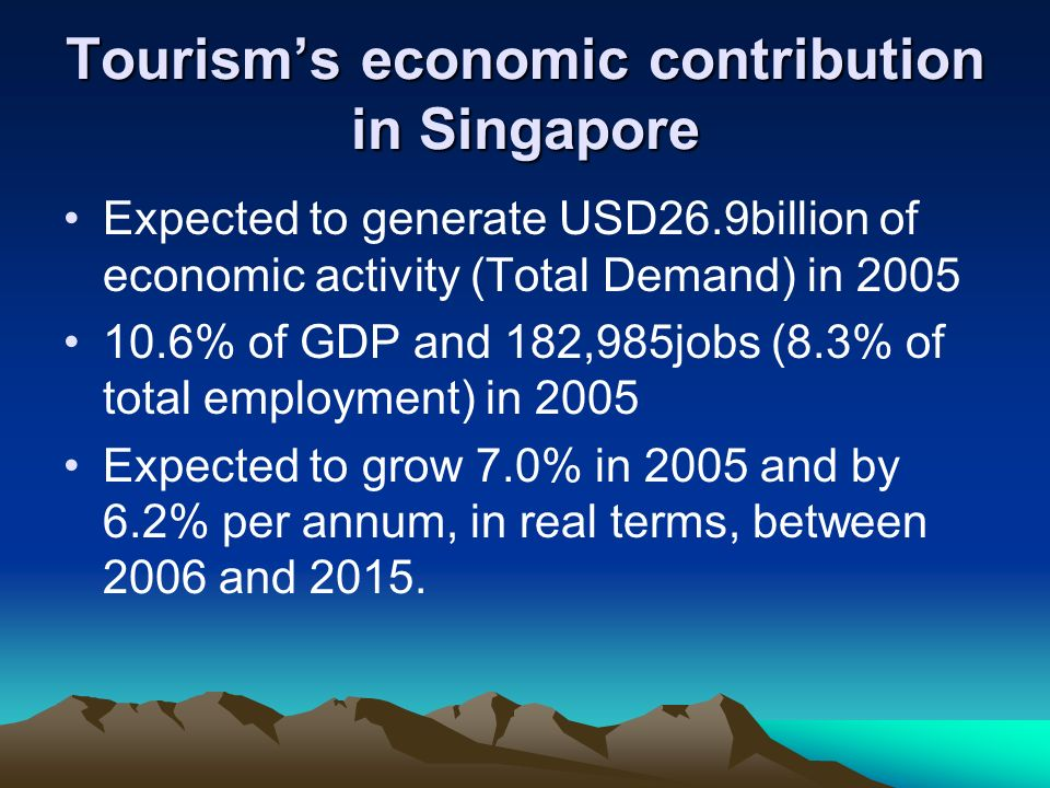 Singapore tourisms vision On 11 January 2005, STB unveiled Tourism 2015, its vision for Singapores tourism industry over the next 10 years.