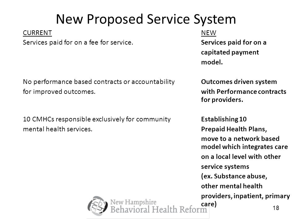 18 New Proposed Service System CURRENTNEW Services paid for on a fee for service.Services paid for on a capitated payment model.