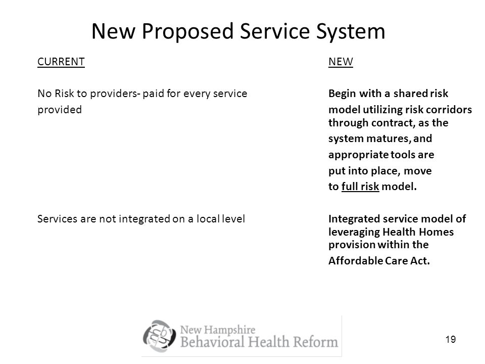 19 New Proposed Service System CURRENTNEW No Risk to providers- paid for every serviceBegin with a shared risk providedmodel utilizing risk corridors through contract, as the system matures, and appropriate tools are put into place, move to full risk model.