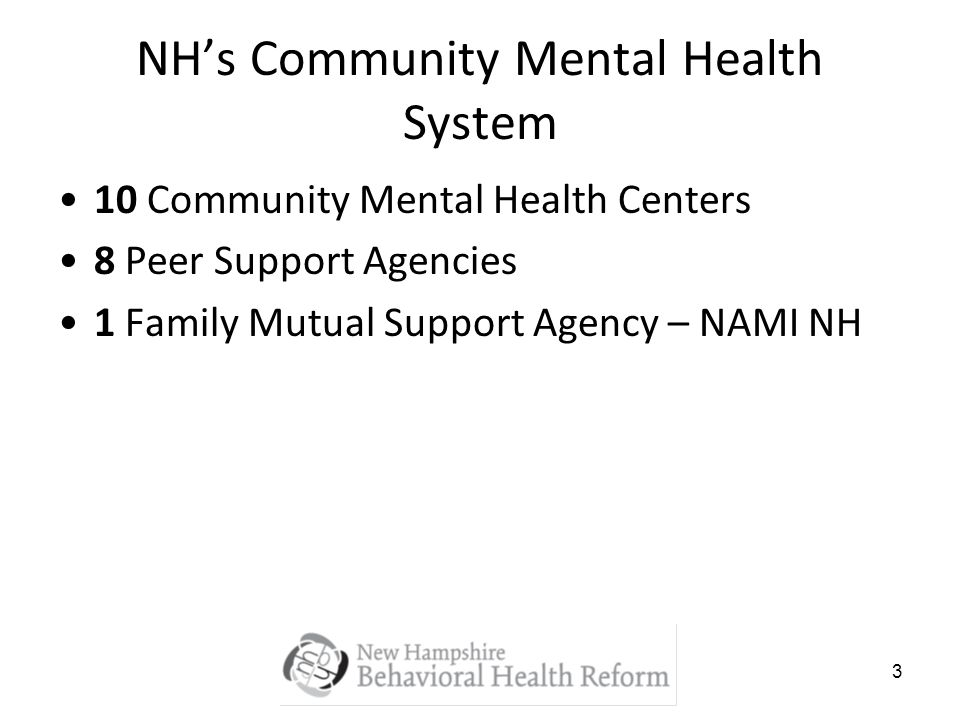 3 NHs Community Mental Health System 10 Community Mental Health Centers 8 Peer Support Agencies 1 Family Mutual Support Agency – NAMI NH