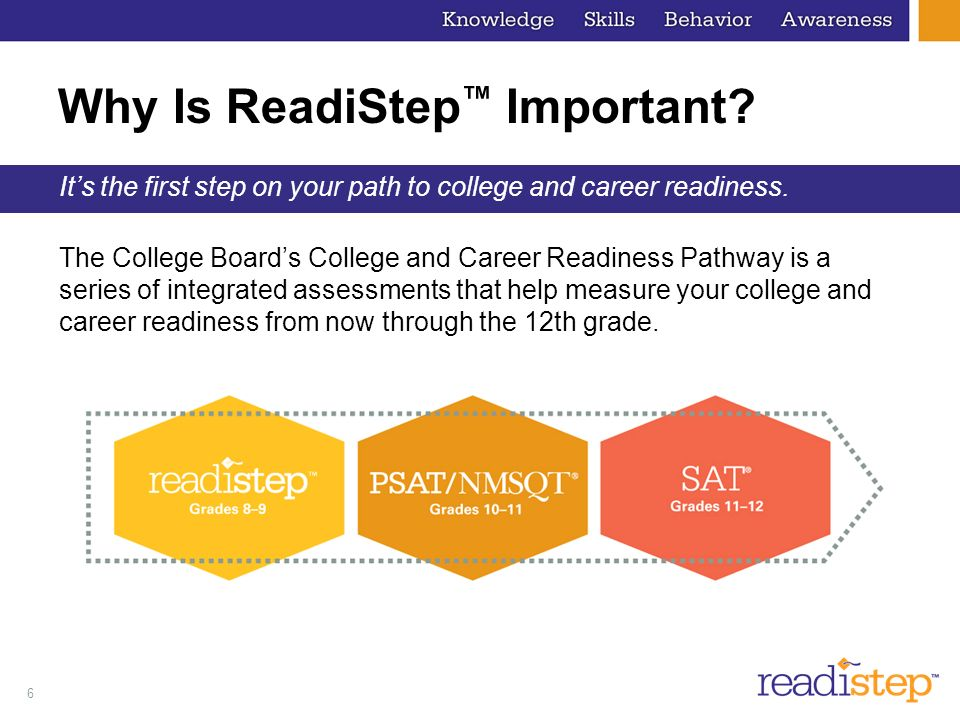 6 Why Is ReadiStep Important? Its the first step on your path to college and career readiness. The College Boards College and Career Readiness Pathway