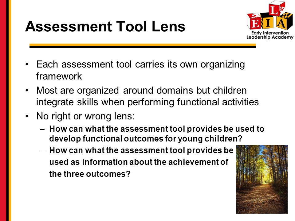 Assessment Tool Lens Each assessment tool carries its own organizing framework Most are organized around domains but children integrate skills when performing functional activities No right or wrong lens: –How can what the assessment tool provides be used to develop functional outcomes for young children.