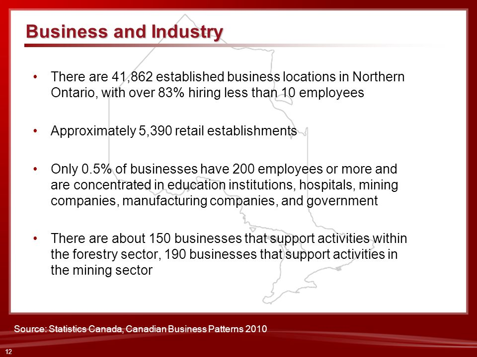 12 There are 41,862 established business locations in Northern Ontario, with over 83% hiring less than 10 employees Approximately 5,390 retail establi