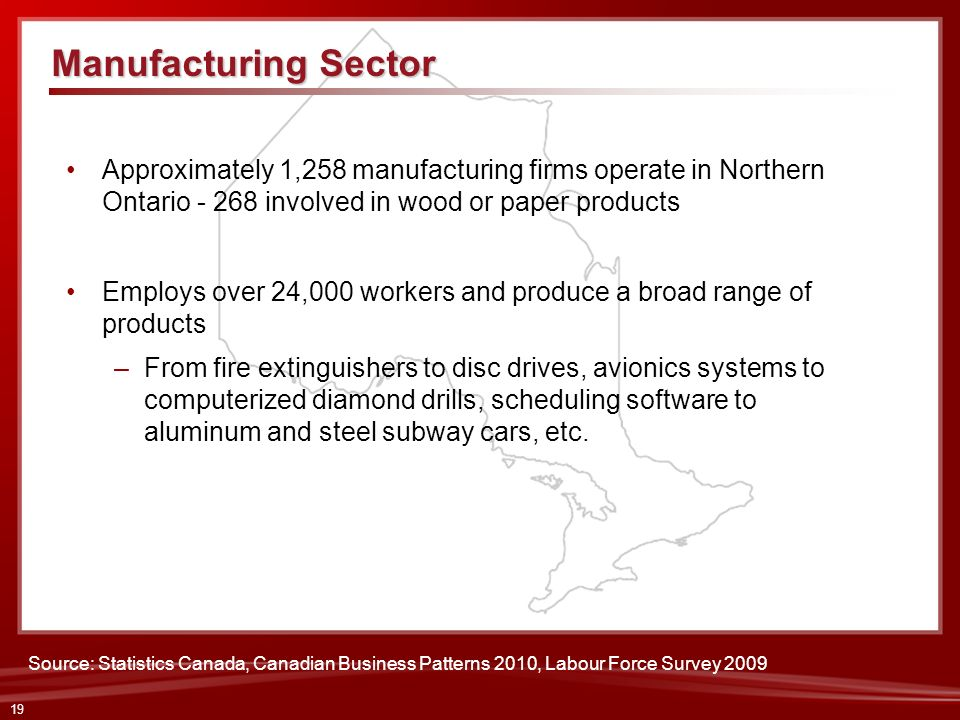 19 Approximately 1,258 manufacturing firms operate in Northern Ontario - 268 involved in wood or paper products Employs over 24,000 workers and produc