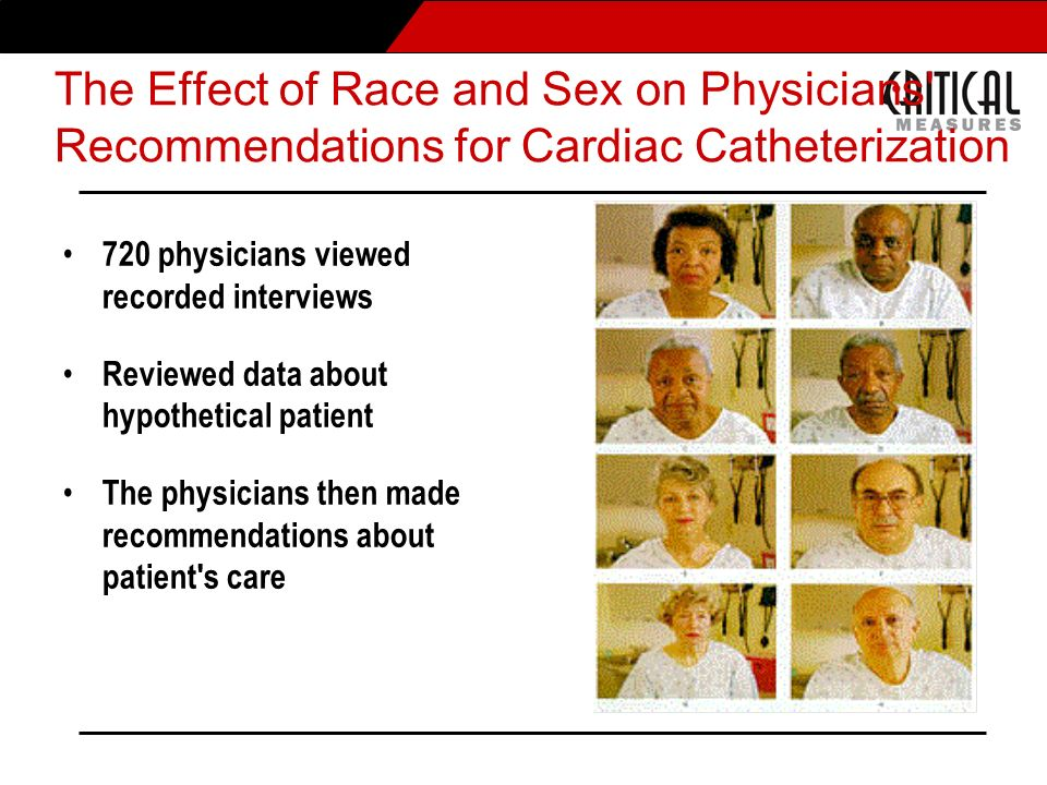 The Effect of Race and Sex on Physicians' Recommendations for Cardiac Catheterization 720 physicians viewed recorded interviews Reviewed data about a