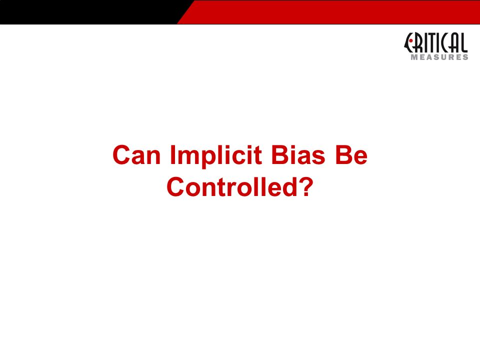 Can Implicit Bias Be Controlled?