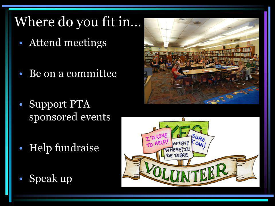 Where do you fit in… Attend meetings Be on a committee Support PTA sponsored events Help fundraise Speak up