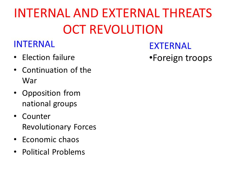 INTERNAL AND EXTERNAL THREATS OCT REVOLUTION INTERNAL Election failure Continuation of the War Opposition from national groups Counter Revolutionary F