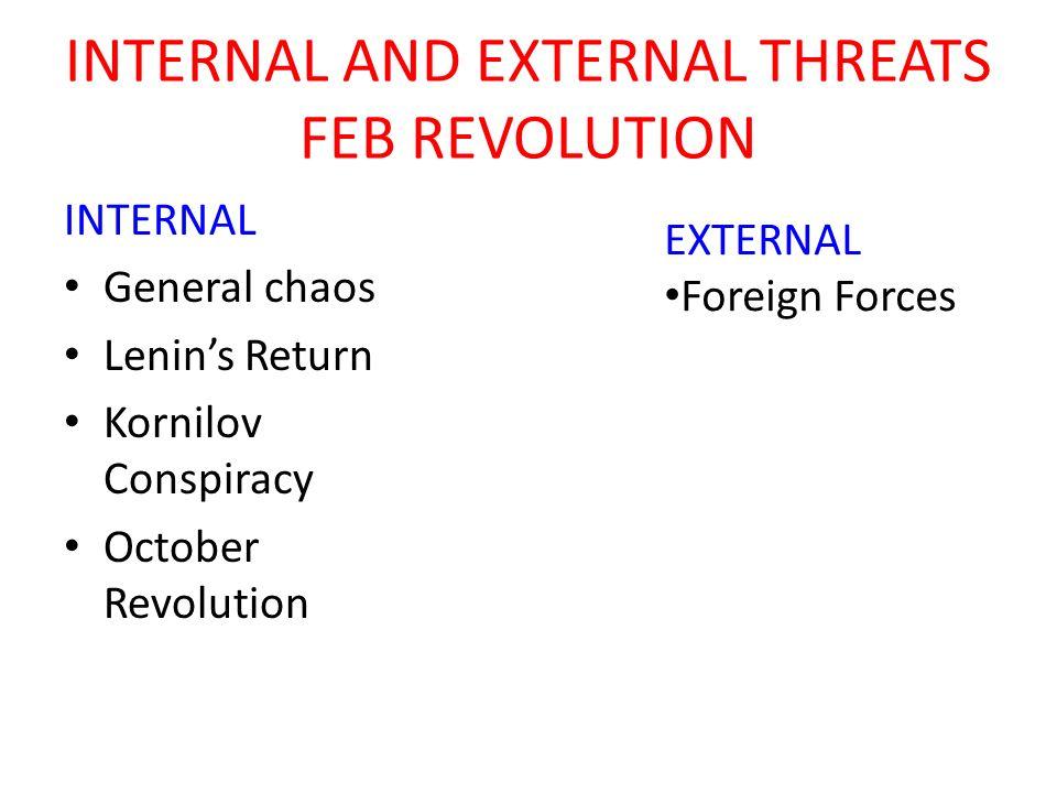 INTERNAL TO THE OCTOBER REVOLUTION