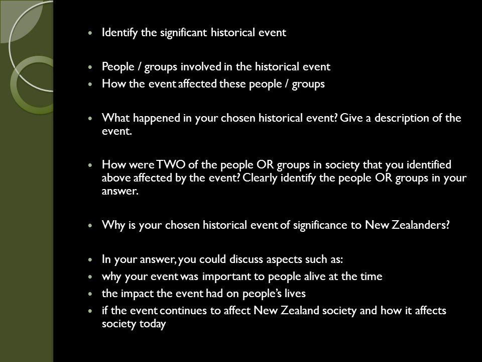 Identify the significant historical event People / groups involved in the historical event How the event affected these people / groups What happened