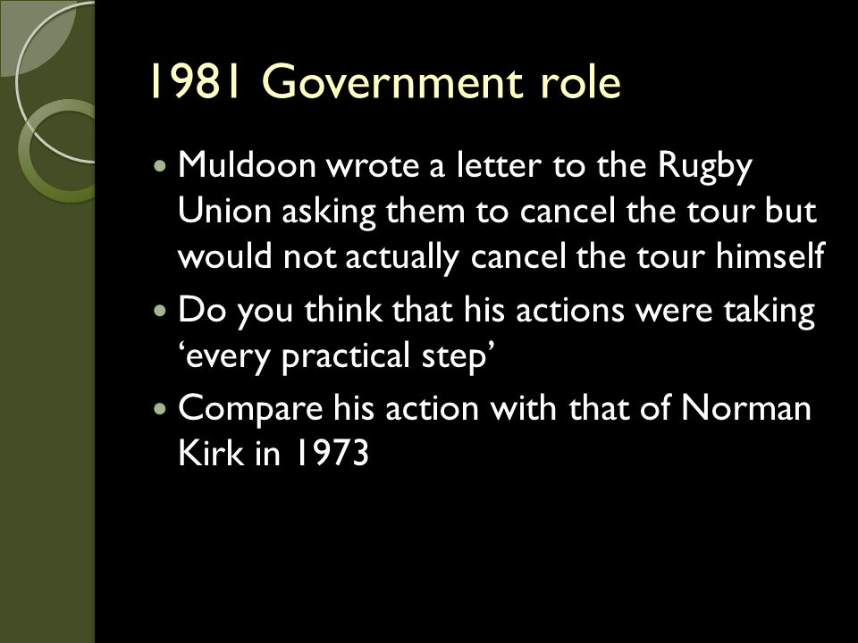1981 Government role Muldoon wrote a letter to the Rugby Union asking them to cancel the tour but would not actually cancel the tour himself Do you th