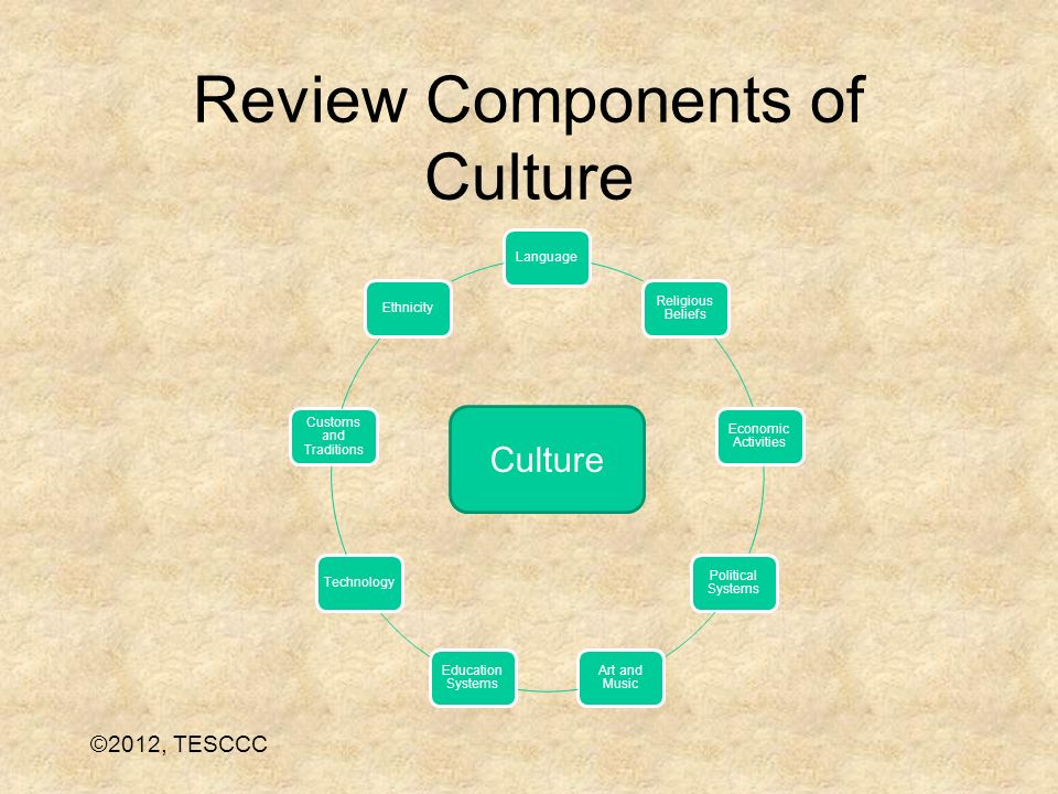 Review Components of Culture Language Religious Beliefs Economic Activities Political Systems Art and Music Education Systems Technology Customs and T