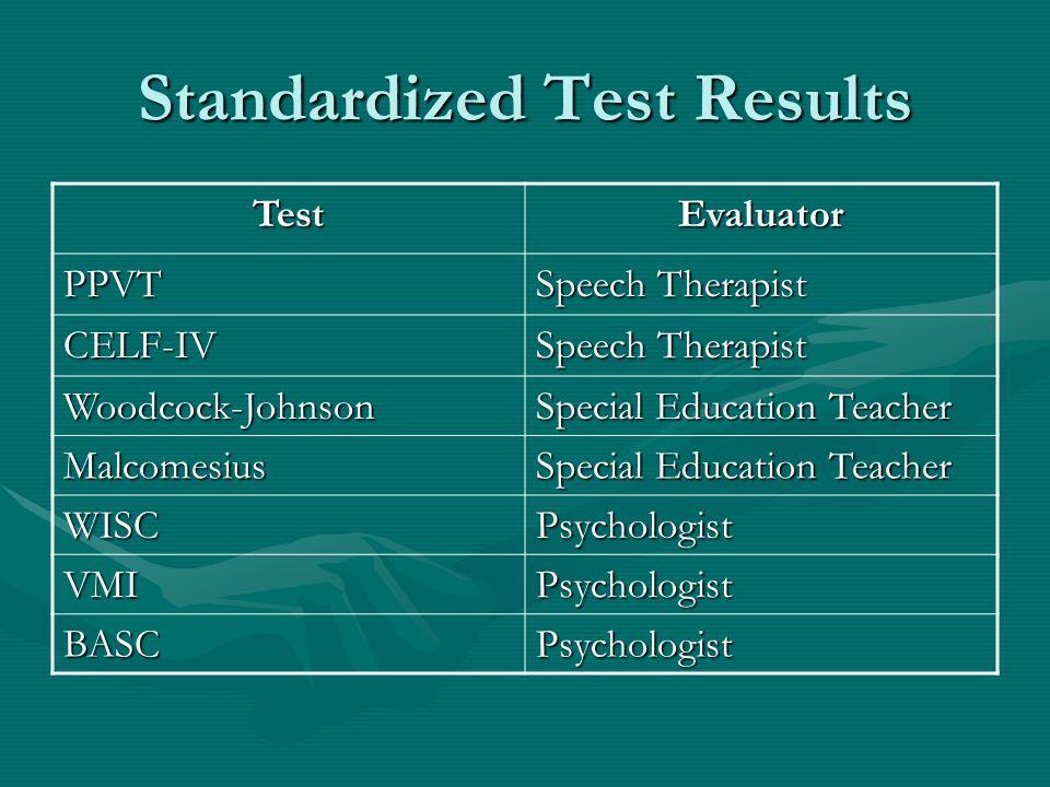 Standardized Test Results TestEvaluator PPVT Speech Therapist CELF-IV Woodcock-Johnson Special Education Teacher Malcomesius WISCPsychologist VMIPsych
