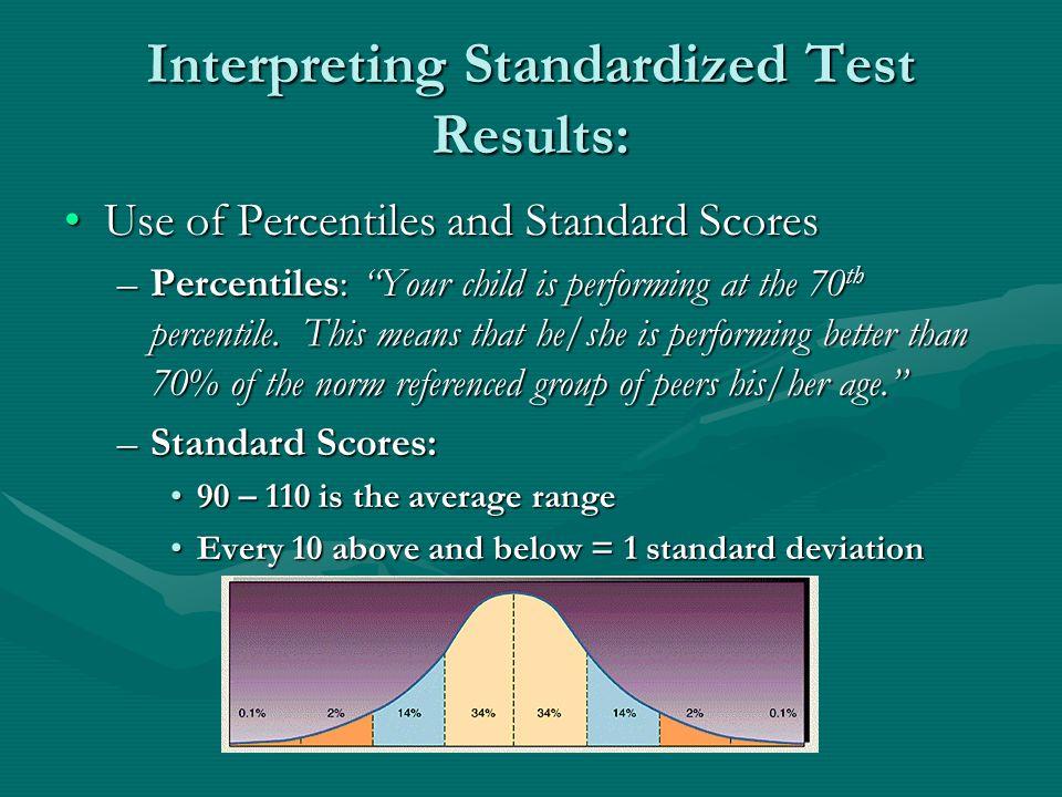Interpreting Standardized Test Results: Use of Percentiles and Standard ScoresUse of Percentiles and Standard Scores –Percentiles: Your child is perfo