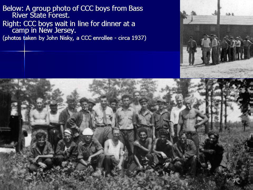 Below: A group photo of CCC boys from Bass River State Forest. Right: CCC boys wait in line for dinner at a camp in New Jersey. (photos taken by John
