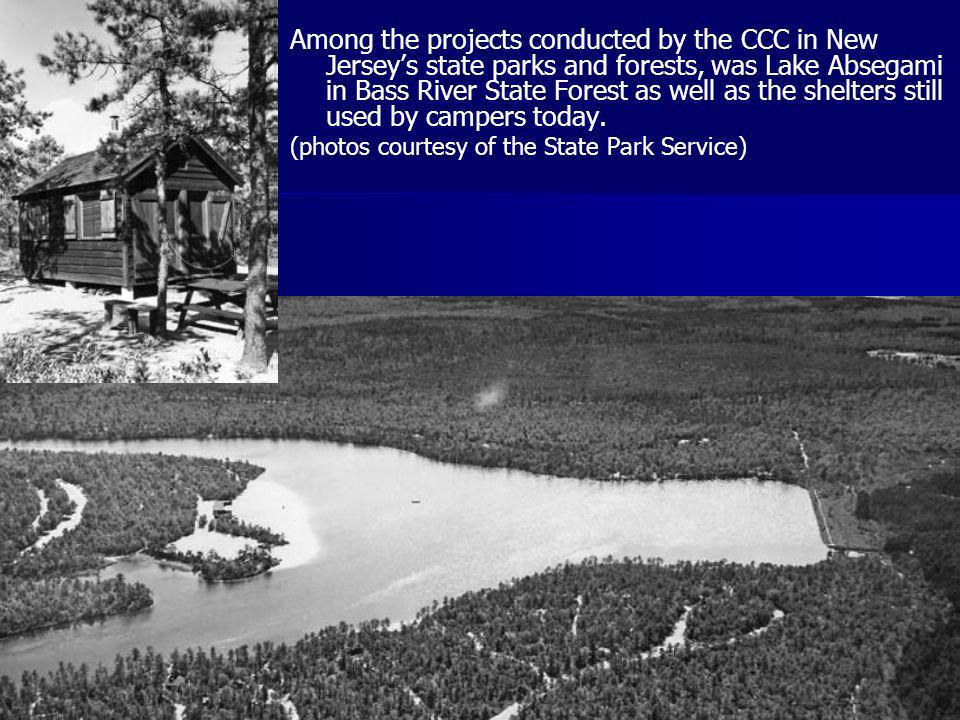 Among the projects conducted by the CCC in New Jerseys state parks and forests, was Lake Absegami in Bass River State Forest as well as the shelters s