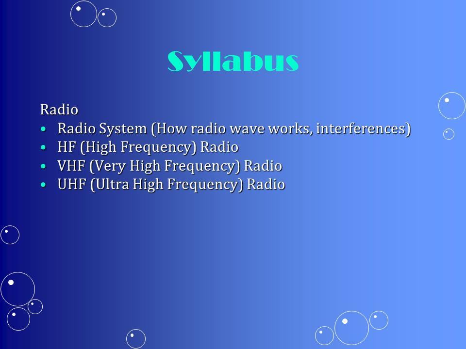 Syllabus Radio Radio System (How radio wave works, interferences)Radio System (How radio wave works, interferences) HF (High Frequency) RadioHF (High