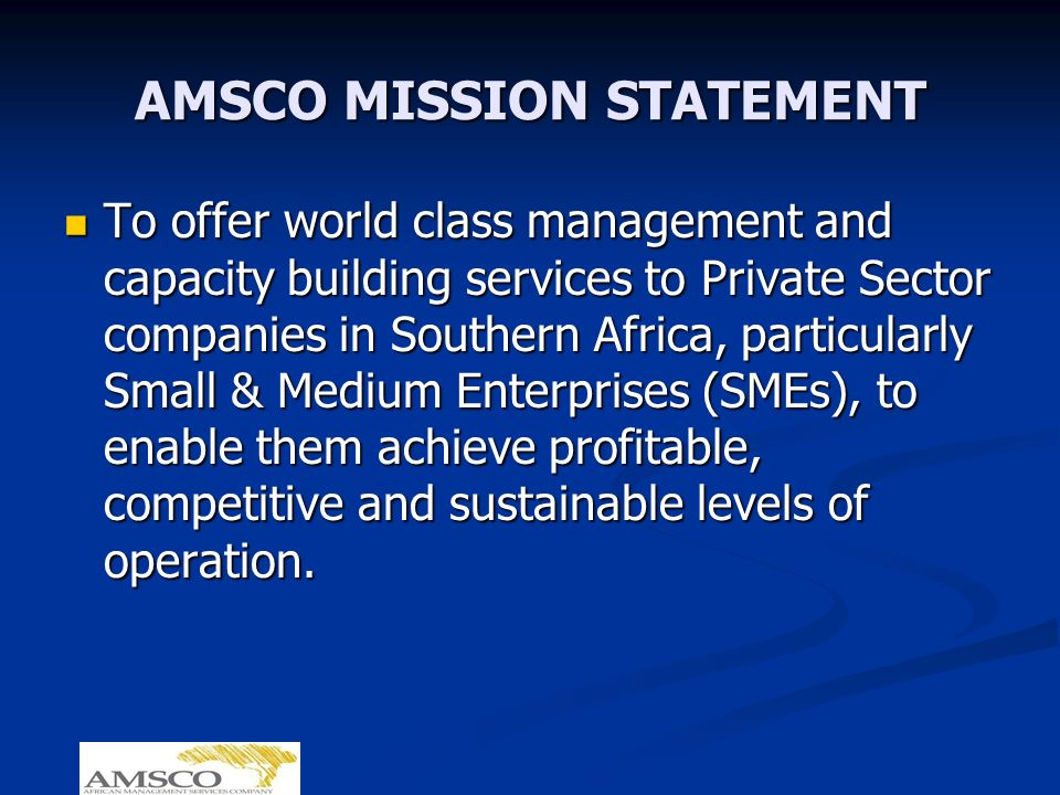 AMSCO MISSION STATEMENT To offer world class management and capacity building services to Private Sector companies in Southern Africa, particularly Small & Medium Enterprises (SMEs), to enable them achieve profitable, competitive and sustainable levels of operation.
