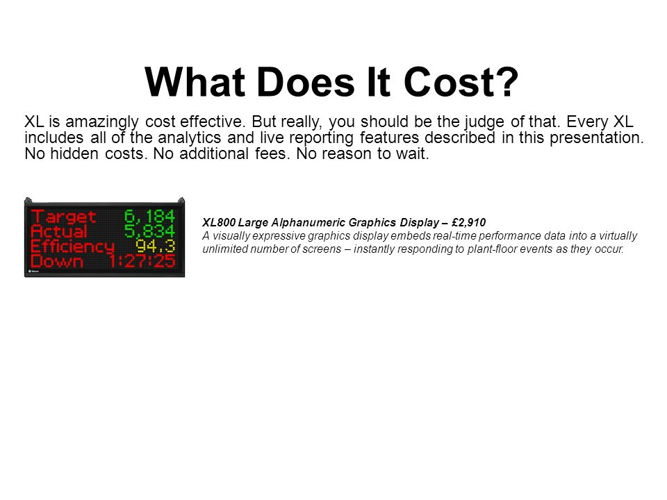 What Does It Cost. XL is amazingly cost effective.