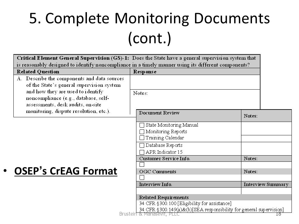 5. Complete Monitoring Documents (cont.) OSEPs CrEAG Format Brustein & Manasevit, PLLC 18