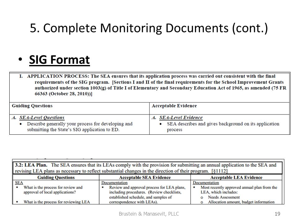 5. Complete Monitoring Documents (cont.) SIG Format Title I & Title III Team Format Brustein & Manasevit, PLLC 19