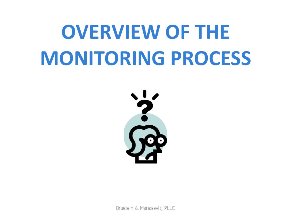 OVERVIEW OF THE MONITORING PROCESS Brustein & Manasevit, PLLC 3