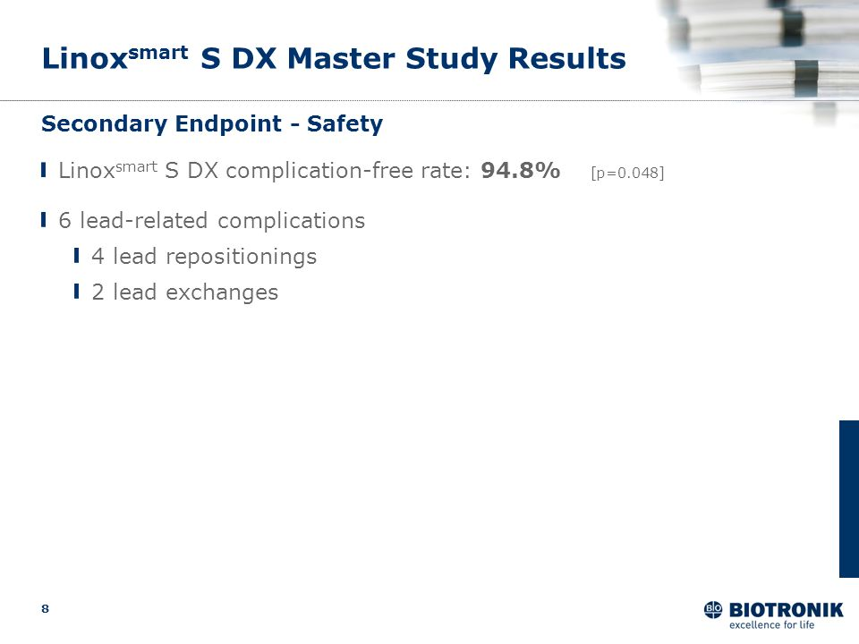 8 Linox smart S DX Master Study Results Secondary Endpoint - Safety 6 lead-related complications 4 lead repositionings 2 lead exchanges Linox smart S