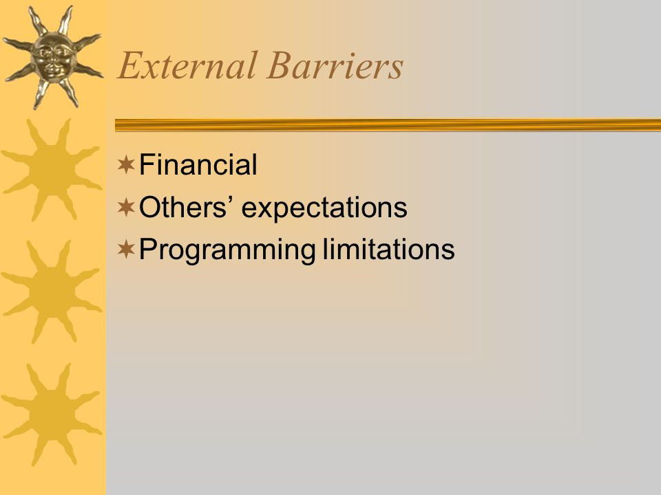 External Barriers Financial Others expectations Programming limitations